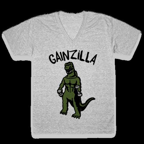 Gainzilla Lifting Parody V-Neck Tee Shirt