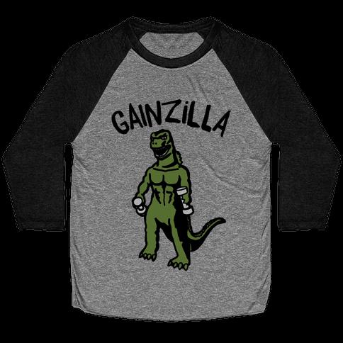 Gainzilla Lifting Parody Baseball Tee