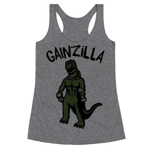 Gainzilla Lifting Parody Racerback Tank Top