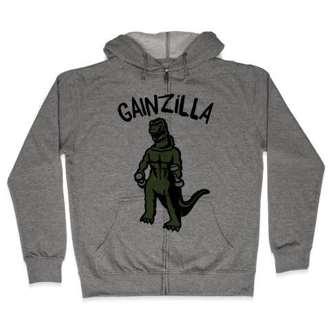 Gainzilla Lifting Parody Zip Hoodie