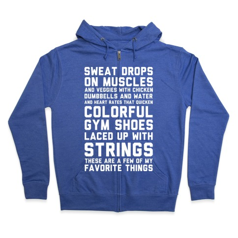 Sweat Drops On Muscles and Veggies With Chicken Zip Hoodie