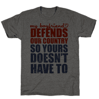 My Boyfriend Defends Our Country (Military Baseball Tee)