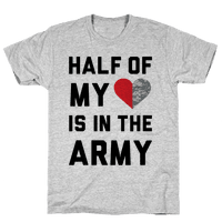 Half My Heart Is In The Army (Army Baseball Tee)