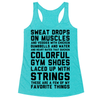 Sweat Drops On Muscles And Veggies With Chicken Racerback